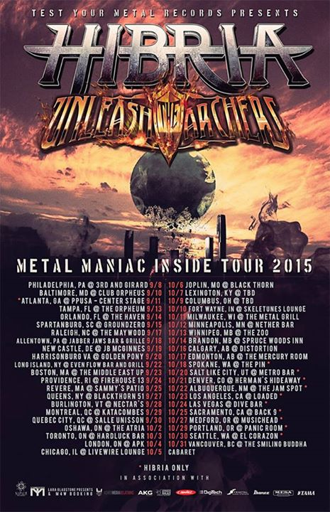 Unleash the Archers - North American tour 2015 with Hibria