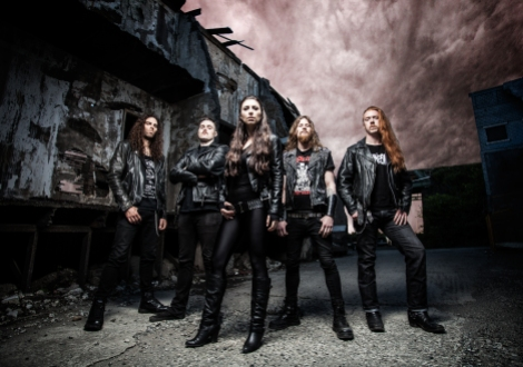 Unleash the Archers (l to r): Kyle Sheppard, Scott Buchanan, Brittney Slayes, Grant Truesdell, and Andrew Kingsley