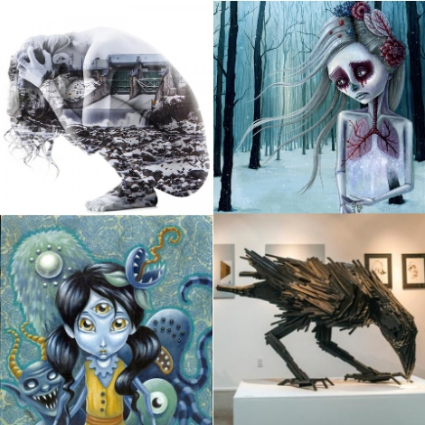Works by (clockwise from top left): Desiree Patterson, Megan Majewski, Lee Roberts, and Jen Brisson.
