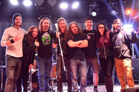 Majora with Vancouver's Metal Battle Judges (left to right): Alex Bruce (guitar/vox), judges Mark McKitrick and JJ Caithcart, Tony Woollven (bass), Mike S. (judge) Max Desjardins (drums), Brittney Slayes (judge) and Dustin Carpenter (vox/guitar)