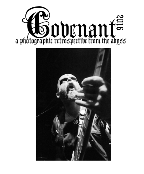 Cover of the 2016 Covenant retrospective photo zine. (Pictured: Funeral Incantation at The Hindenburg.)